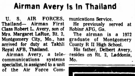 """Airman Avery Is In Thailand,"" Mexico (Missouri) Ledger, 13 February 1974, p. 13, cols.  2-4. -"