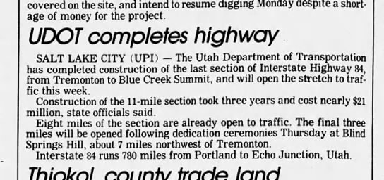 Final section of I-84 in Utah -
