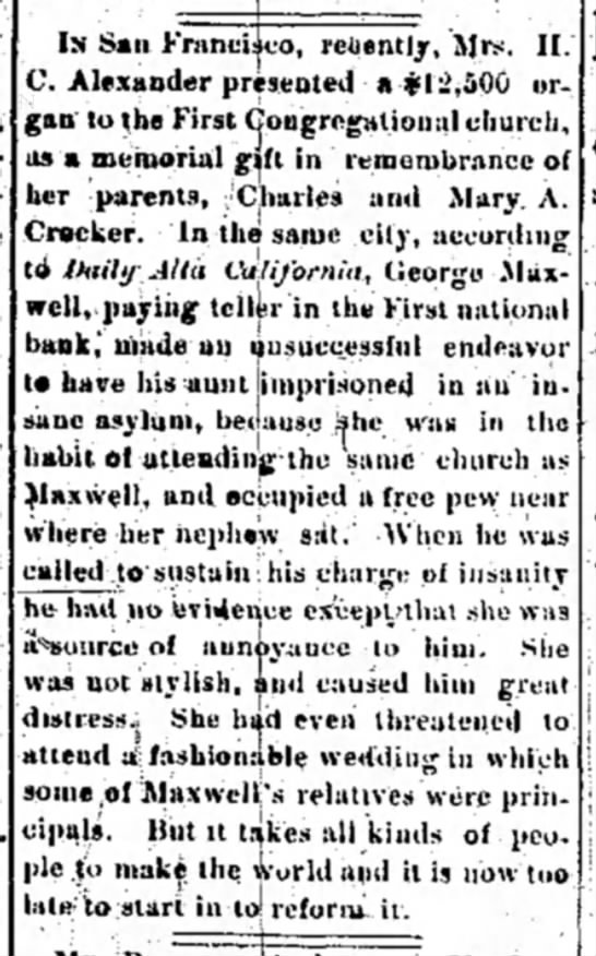 George Maxwell - Las Vegas Daily Optic (East Las Vegas, NM) 9/8/1890 -