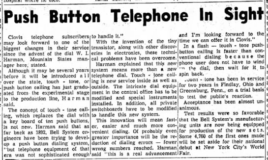 Push Button Telephones In Sight -