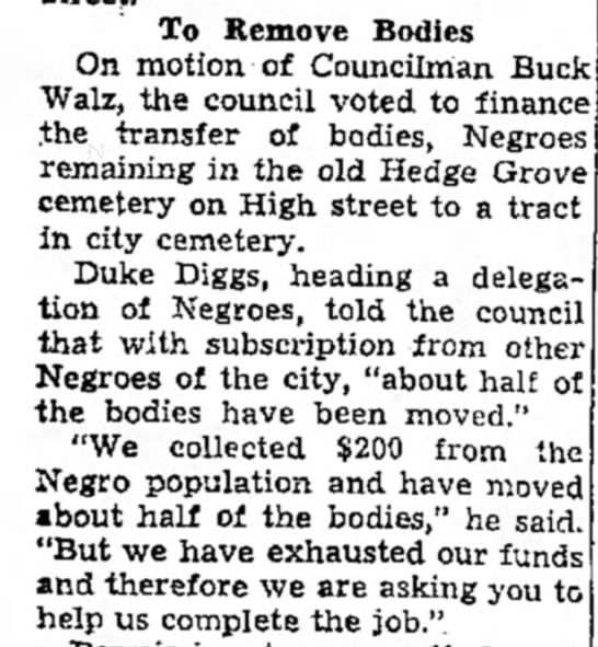 Hedge Grove Cemetery, Remove Bodies, The Daily Capital News, 15 Sep 1936 - To Remove Bodies On motion of Councilman BucI...