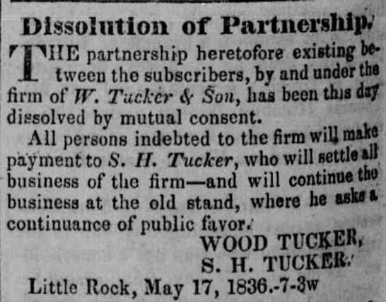 Dissolution of Partnership (Wood Tucker) -
