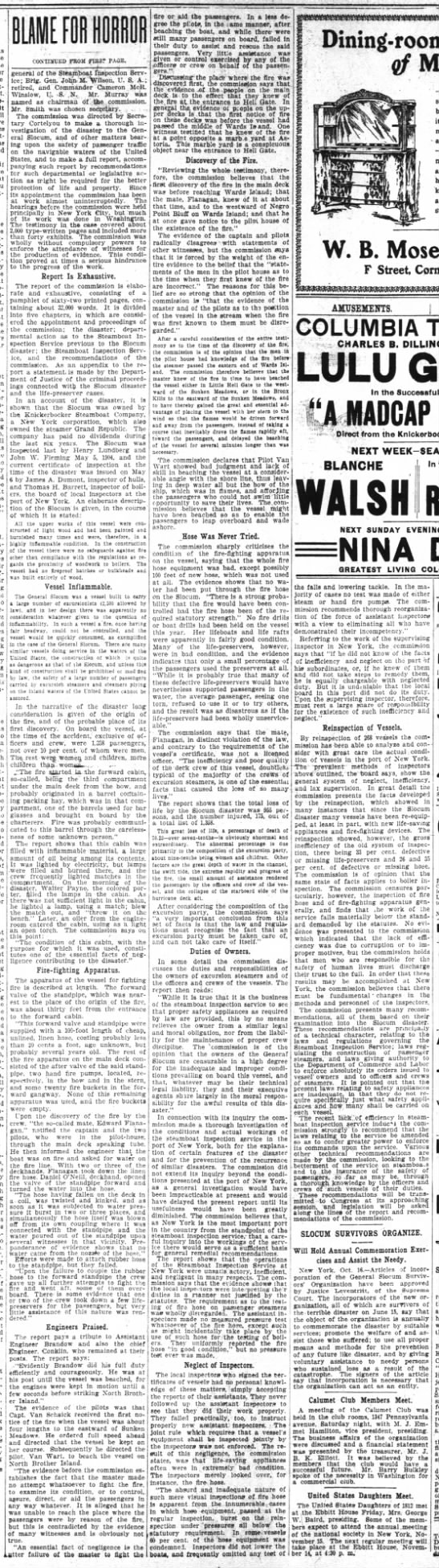 Excerpt from newspaper summary of the government commission report into the General Slocum disaster -