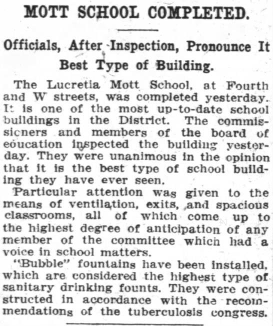 """Mott School Completed"". The Washington Post, April 9, 1909. -"