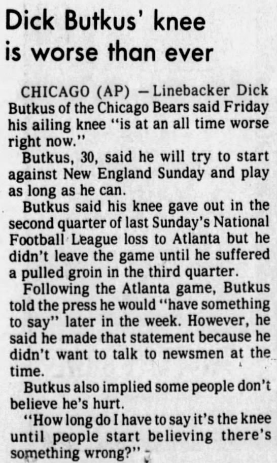 Dick Butkus' knee is worse than ever -