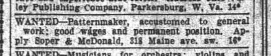 Soper & McDonald want adWashington Post14 Oct 1913 -