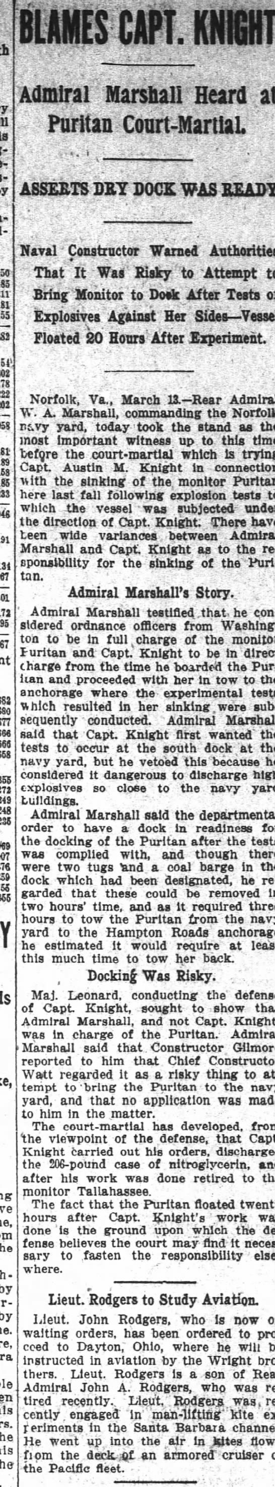 14 Mar 1911 Adm Marshalls testimony -