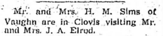 Mr & Mrs H M Sims in Clovis -