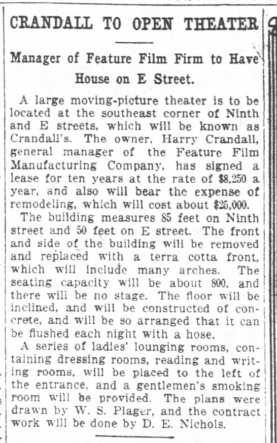 Harry Crandall first major theater -