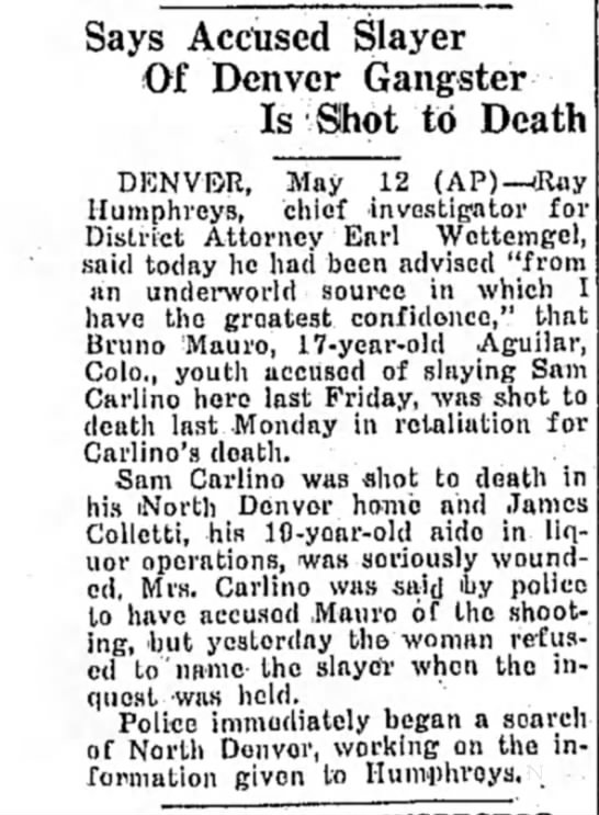 Bruno Mauro, 1931 - Says Accused Slayer Of Denver Gangster Is Sihot...