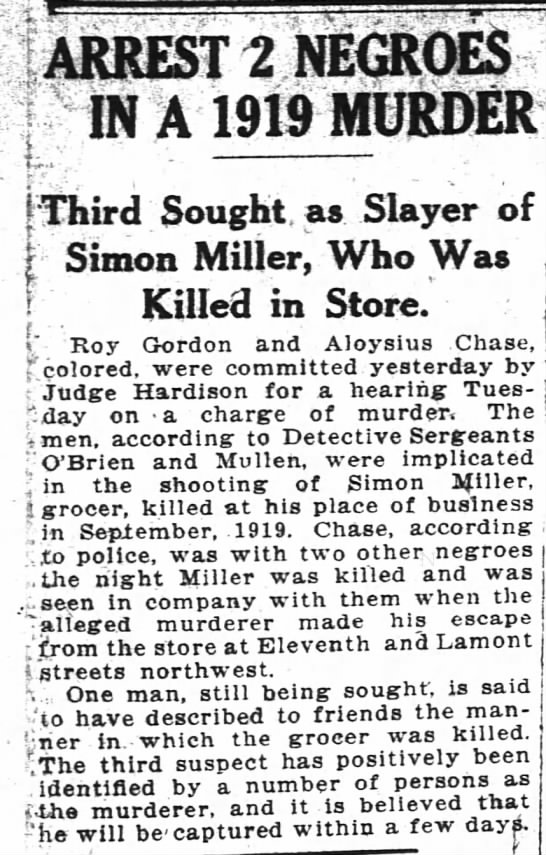 Arrest of 2 in murder of SImon Miller, wash Post 2/2/1921 - 2NE3ROES V IN A 1919 MURDER rf - L Sought as...