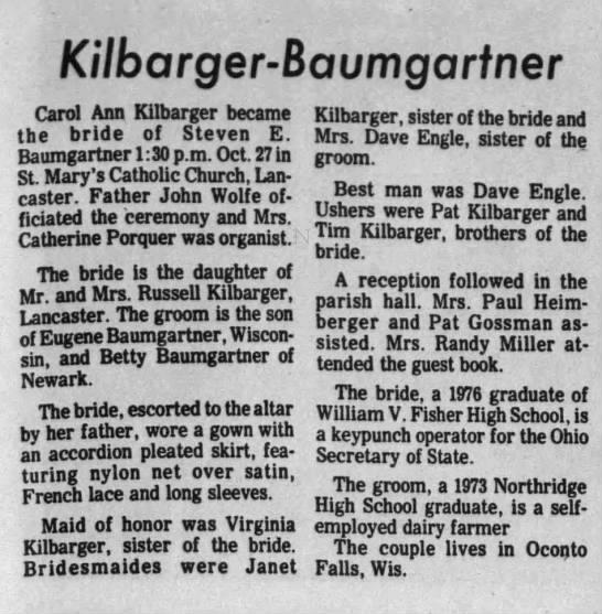 Carol Kilbarger and Steven Baumgartner wed -