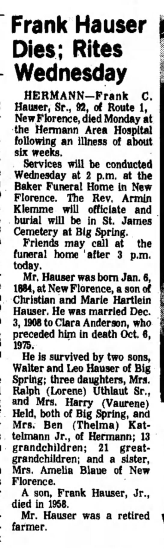 Frank Hauser Obituary -