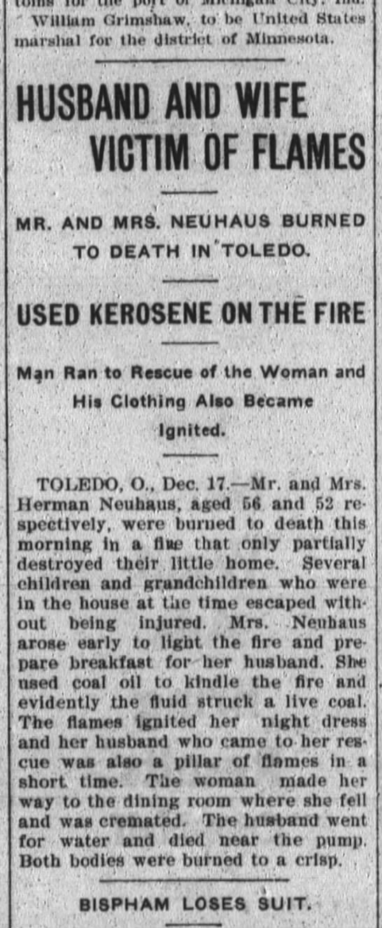 Mr. and Mrs Herman Neuhaus of Toledo burned to death in their home. - William Orimshaw to bo United States murslial...