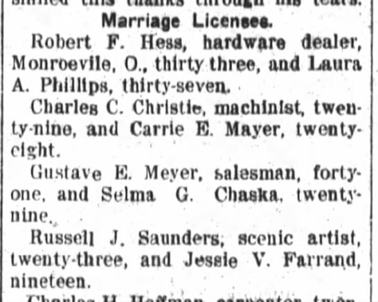 Russell J Saunders Jessie Farrand Notice of Marriage License 26 June 1909 Fort Wayne Daily News -