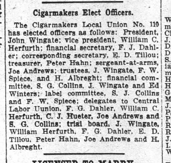 Cigarmakers elect officers