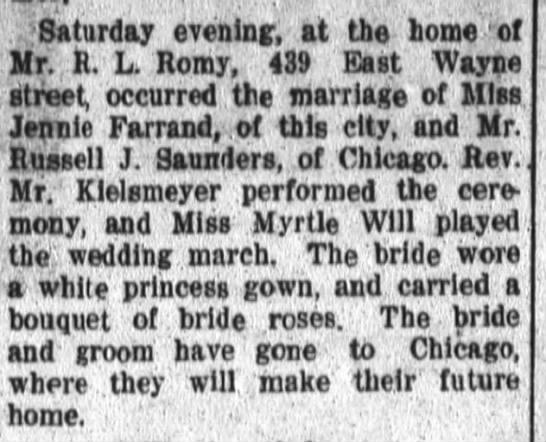 Russell Saunders Wedding Notice 28 June 1909 Fort Wayne Daily News -