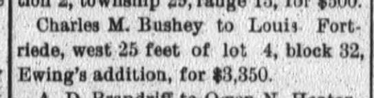 Louis Fortriede, Ft.Wayne Daily News Sat. May 8, 1897 p.1 -