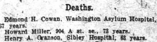Henry Cranson died at Sibley Hospital -