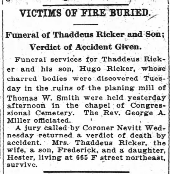 Victims of Fire Buried Washington Post, Washington, DC 25 Jan 1918, p. 8 -