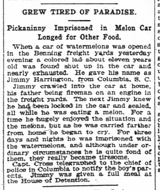 """Boy Trapped """"in Melon Car Longed for Other Food"""" -"""