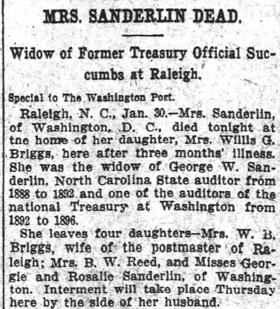Eliza Wooten Sanderlin obituary 31 Jan 1912 Washington Post -