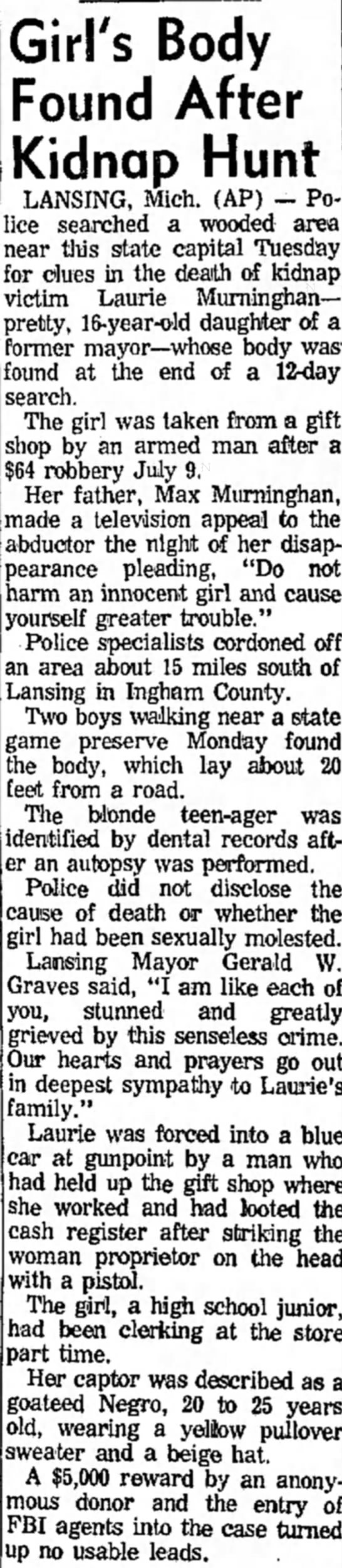 Mexico Ledger - Tues 7-21-70 - Girl's Body Found After Kidnap Hunt LANSING,...