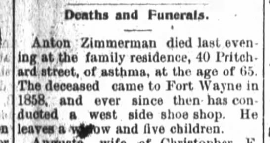 Obituary, Anton Zimmerman 1895 -