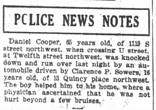 Daniel Cooper hit by car 11 12 1913 -