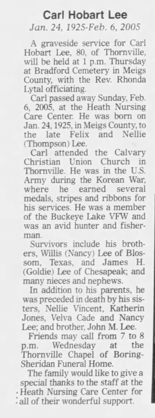 Carl Hobart Lee obitThe Newark Advocate (Newark, Ohio) 08 Feb 2005, Tue Page 4 -