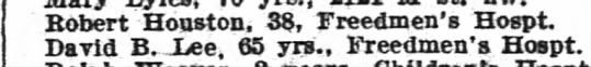 - Robert Houston 38 Freedmens Hospt David B - Lee...