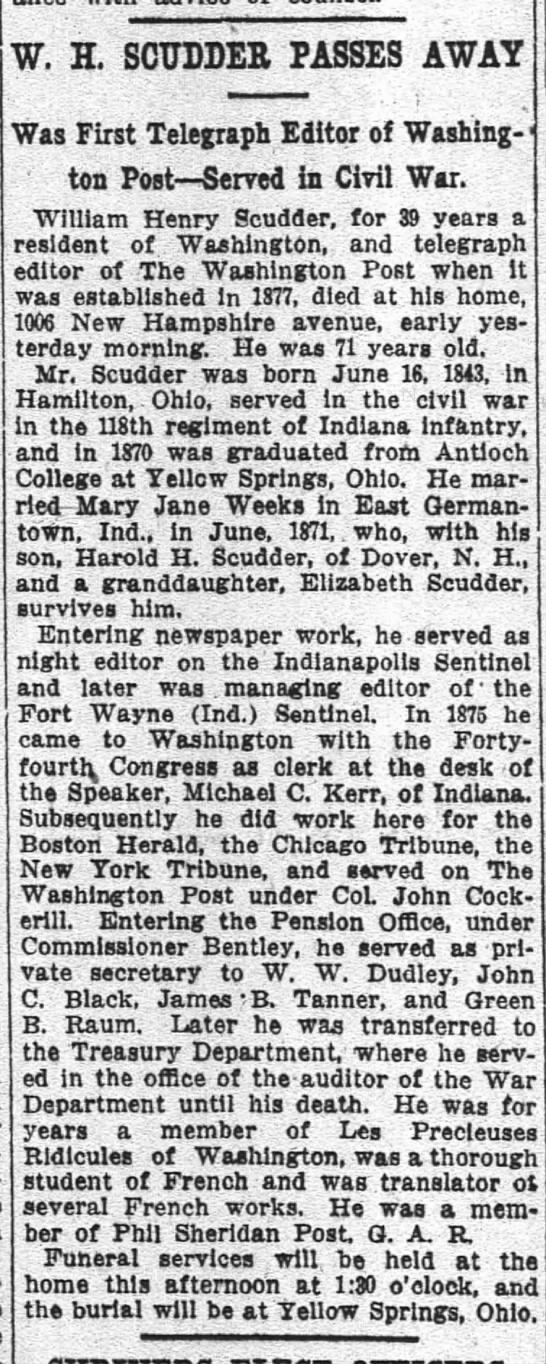 Scudder - W H The Washington Post (Washington, District of Columbia) 30 Dec 1914 p 9 obit -