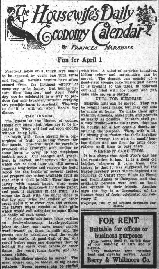 Fun for April 1. At least in 1913. -