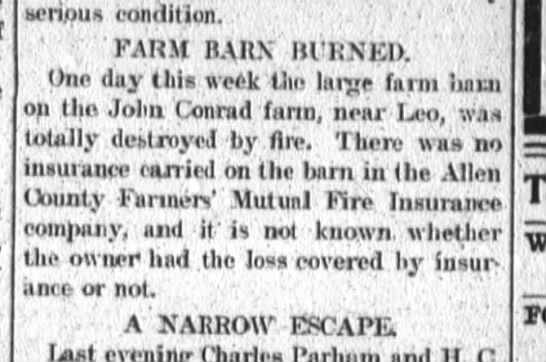 John Conrad 27 Jul 1901 farm barn burned - ncnpus condition. FARM B lll'RNU Uno day ilits...
