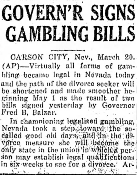Navada Legalizes Gambling - March 1931 -