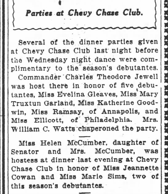 5 Debs. Maybe Cohen came for Miss Ellicott? (12/9/1915 WPost) -