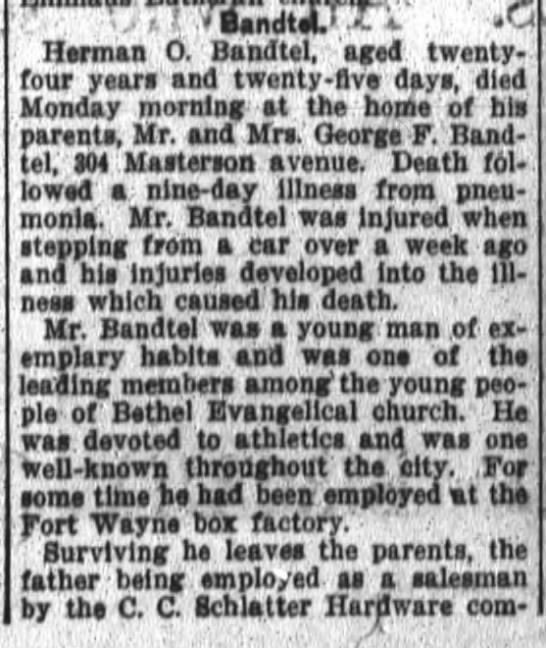 Herman O. Bandtel, Ft.Wayne Daily News, Nov.13, 1911 p.2 -