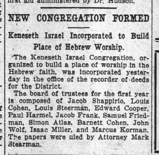 Edward Cooper and Isaac Miller start new synagogue 1914 -