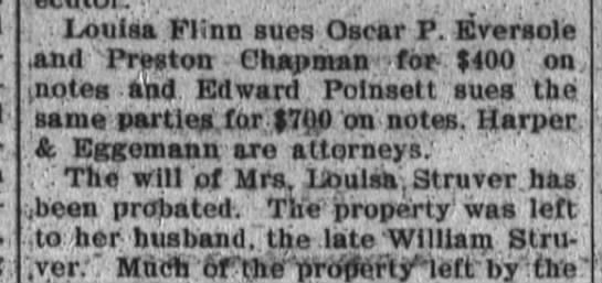 Edward Poinsett sues Oscar P Eversole and Preston Chapman for $700. -