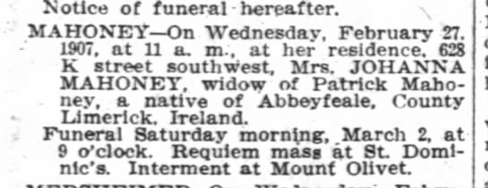 - Notice of funeral hereafter MAHONEY On...