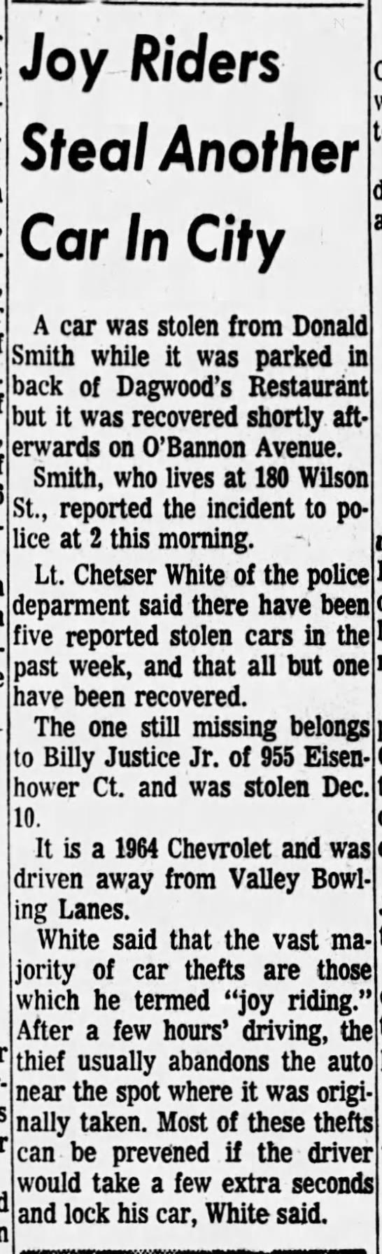 Uncle Donald Smith get car stolen -