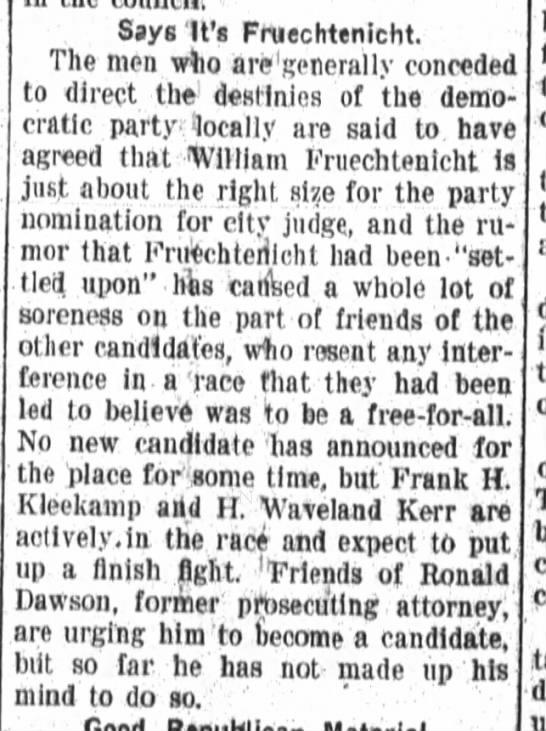 William Fruechtenicht, Fort Wayne Daily News, Fri. Mar. 26, 1909, p.8 -