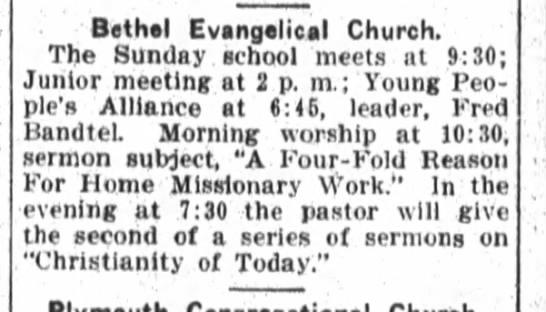 Fred Bandtel, Fort Wayne Daily News, Sat. June 14, 1913 p.3 -