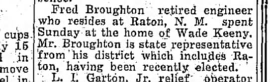 Fred Broughton home of Wade Keeny newly elected Clovis News-Journal 15 dec 1930 -