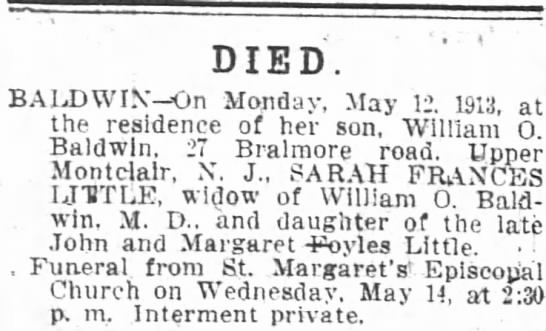 Little Sarah Frances Death Notice 14May1913 -