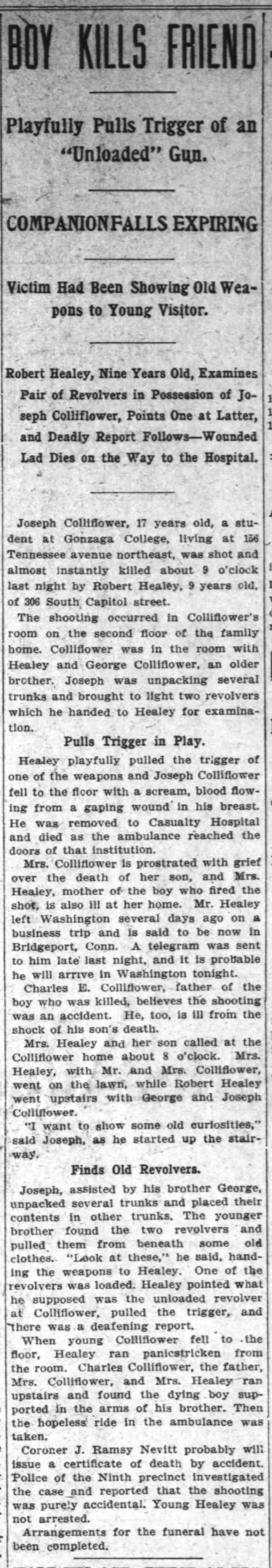 Boy Kills Friend [Death of Joseph Colliflower] -