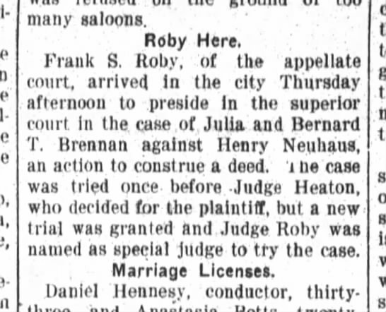 Appelate Judge to retry case of Brennan vs Henry Neuhaus -