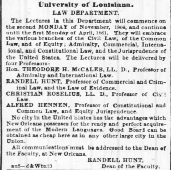 The Times-Picayune (New Orleans, LA) Alfred Hennen. Univ of LA Law Dept - I'nlveraity of Lonlslana. LAW DEPARTMENT. The...