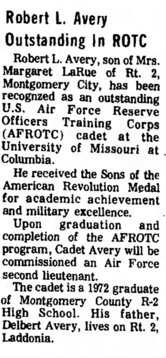 """Robert L. Avery Outstanding In ROTC,"" Mexico (Missouri) Ledger, 25 June 1975, p. 15, col. 3. -"