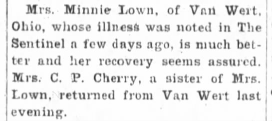 1899-06-20 Fort Wayne Sentinel p 3 - Recovery Seems Assured -